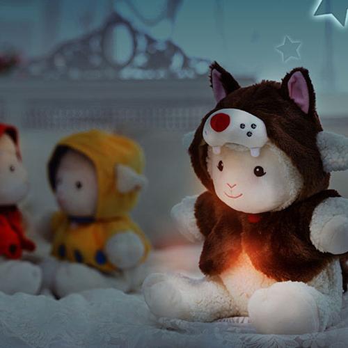 멜로디 수면인형 프랜드쉽 슈(늑대모자)_불빛이 나오는 아기양 수면인형_백일~첫돌/돌선물 추천/애착인형