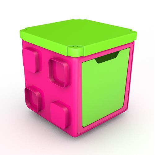 [칠라피쉬] 블록형 정리함 박스+커버 세트 (핑크+라임)
