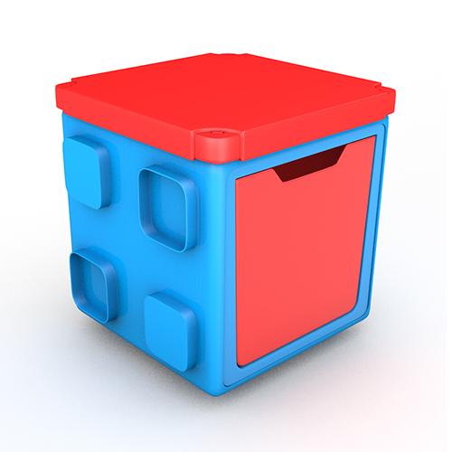 [칠라피쉬] 블록형 정리함 박스+커버 세트 (블루+레드)