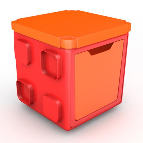 [칠라피쉬] 블록형 정리함 박스+커버 세트 (레드+오렌지)