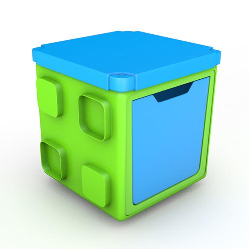 [칠라피쉬] 블록형 정리함 박스+커버 세트 (라임+블루)