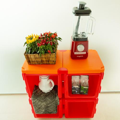칠라피쉬박스 4개 세트_(레드+오렌지)다기능 조립식 정리함/테이블,수납함 변신가능