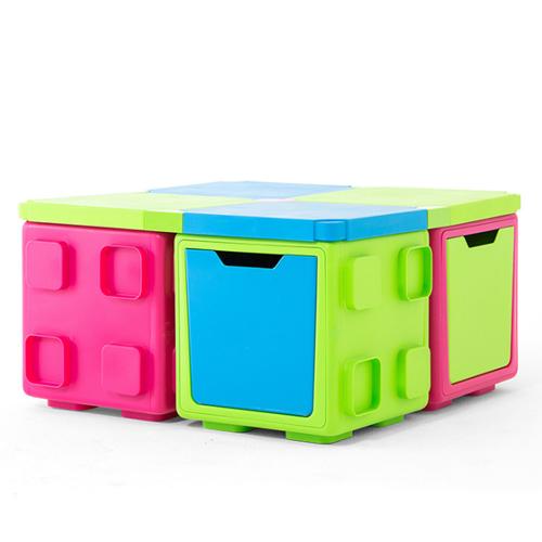 칠라피쉬박스 4개 세트_(라임+블루/2개,핑크+라임/2개)다기능 조립식 정리함/테이블,수납함 변신가능