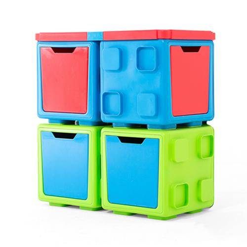 칠라피쉬박스 4개 세트_(라임+블루/2개,블루+레드/2개)_다기능 조립식 정리함/테이블,수납함 변신가능
