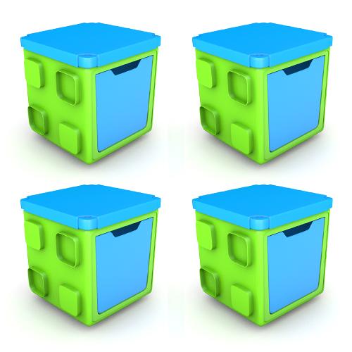 칠라피쉬박스 4개 세트_(라임+블루)다기능 조립식 정리함/테이블,수납함 변신가능