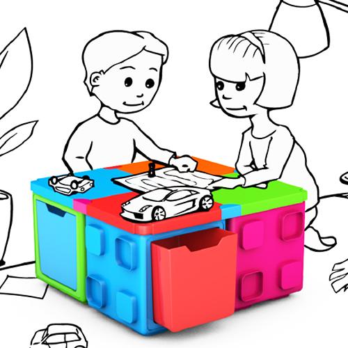칠라피쉬박스 4개 세트_(4가지색)다기능 조립식 정리함/테이블,수납함 변신가능