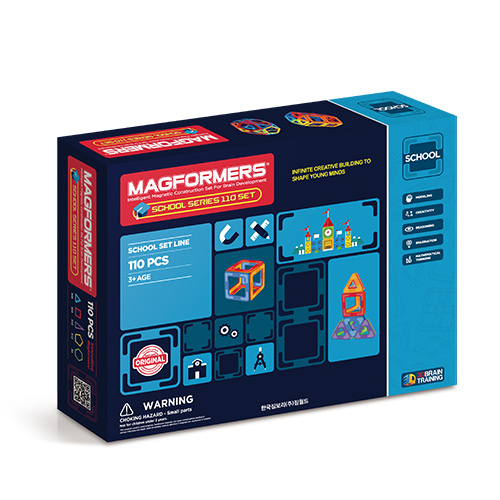 맥포머스 스쿨시리즈 110 PCS [대형퍼즐판+조형북2종+워크북2종+정리함 증정]